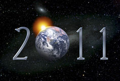 Postcard illustration for 2011 New Year. With Planet Earth Stock Illustration