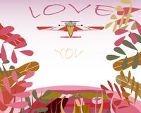 Postcard with an illustration of a couple in love. A man and a woman retired in a clearing in the forest. Nadpsi around flying. Aircraft - I love you vector illustration