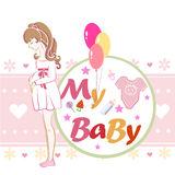 Postcard or illustration, `Mother and child future.`. The image of a pregnant girl. Vector for a card or poster with congratulations on the birth. Thoughts royalty free illustration