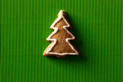 Postcard with the image of a Christmas tree cookie Royalty Free Stock Images