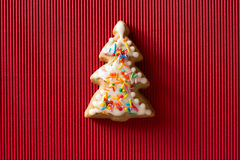 Postcard with the image of a Christmas tree cookie Stock Images