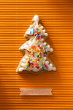 Postcard with the image of a Christmas tree cookie Stock Photo