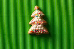 Postcard with the image of a Christmas tree cookie Stock Image