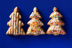 Postcard with the image of a Christmas tree cookie Stock Photos