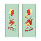 Postcard image of gift boxes, cake with candles, balloons and lettering wishes.  Royalty Free Stock Photos