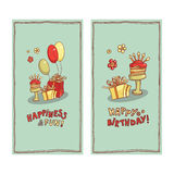 Postcard image of gift boxes, cake with candles, balloons and lettering wishes.  Royalty Free Stock Images