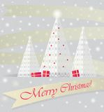 Postcard with the image of lace Christmas trees, boxes of presents, stars, snow, gold ribbons and labels. stock illustration