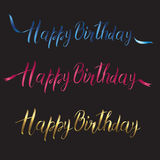 Postcard with the inscription Happy birthday in three different colors Stock Photo