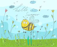 Postcard with an inscription hello summer. Vector illustration in doodle style with a bee stock illustration