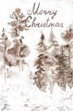 Postcard with the inscription Merry Christmas. Winter brown landscape of snow forest. Hand drawn watercolor illustration stock photography