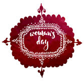 Postcard for international woman`s day, 8 march hand drawn sketch on red watercolor background Stock Photography