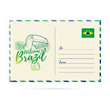 Postcard invitation with a picture toucan. Card Welcome to Brazil. Stamp with the national flag of Brazil. Invitation Royalty Free Stock Photos