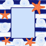 Postcard or invitation with sea background. Frame in sea style. Royalty Free Stock Images