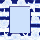 Postcard or invitation with sea background. Frame in sea style. Stock Image