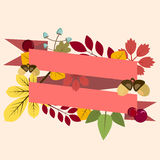 Postcard, invitation template with autumn leaves and ribbon Royalty Free Stock Images