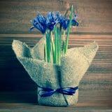 Postcard of iris flowers in burlap on wooden background, closeup Stock Photos