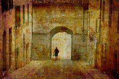 Postcard from Italy. Town gate - Sarteano - Tuscany, Italy Stock Photo