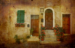 Postcard from Italy. Artistic work of my own - Doors - Montepuliciano - Tuscany Royalty Free Stock Image