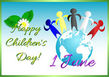 Postcard on June 1 - International Children's Day. Figures, painted in colors of world continents, standing on globe. Vector illustration Royalty Free Stock Photos