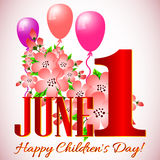Postcard on June 1 - International Children's Day. Postcard on International Children's Day. 1 June with flowers of apple and balloons. Vector illustration Stock Photos