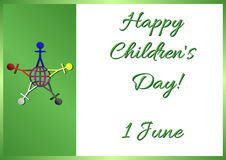 Postcard on June 1 - International Children's Day. With green flag and symbols of world continents on it. Vector illustration Stock Photo