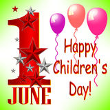 Postcard on June 1 - International Children's Day. Postcard on International Children's Day. 1 June with greeting, stars and balloons. Vector illustration Stock Images