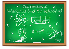Postcard for Knowledge Day. Back to school illustration. Postcard for Postcard for Knowledge Day. Back to school. Blackboard with examples from physics written royalty free illustration