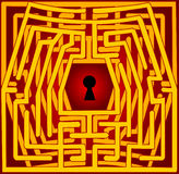 Postcard with a labyrinth. Valentine day Stock Image