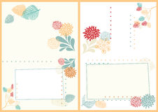 Postcard with Leaves and Flowers. Two-Sided A6 Postcard with Leaves and Flowers Stock Illustration