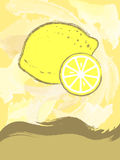 Postcard with lemon. In abstract style Stock Images