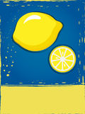 Postcard with lemon. In a grunge style in contrasting colors Royalty Free Stock Photos