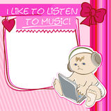 Postcard little kid listening to music Stock Image