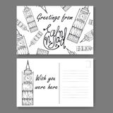 Postcard from London. Hand drawn lettering and sketch. Greetings from england. Vector illestration Royalty Free Stock Images