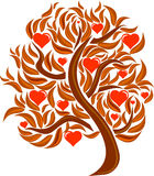 Postcard love tree with leaves and red hearts Stock Photography