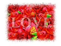 Postcard for lovers with roses on an abstract background. Stock Images