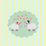 Postcard  with loving couple sheep Stock Photo