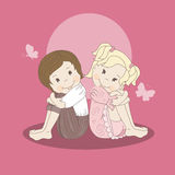 Postcard with a loving couple teens. Vector illustration Stock Photo
