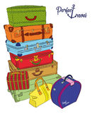 Postcard with luggage for perfect travel. Vector illustration in outlines Royalty Free Stock Image