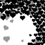 Postcard with many black hearts. Valentine`s day. White background. Vector illustration. Postcard with many black hearts. Valentine`s day. White background Royalty Free Stock Photos