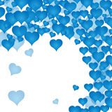 Postcard with many blue hearts. Valentine`s day. White background. Vector illustration. Postcard with many blue hearts. Valentine`s day. White background. Vector Royalty Free Stock Photography