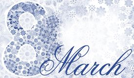 Postcard March 8. blue-white lace background. Women`s holiday. Place for text. Greeting card royalty free stock image