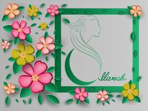 Postcard on March 8 in the International Women`s Day. Opening from paper origami. Vector illustration. EPS 10. Royalty Free Stock Images