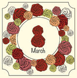 8 March Women's Day greeting card vintage style in vector. 8 March Women's Day greeting card in vector, made in vintage style with images of beautiful roses Stock Photography