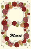 8 March Women's Day greeting card vintage style in vector Stock Photo