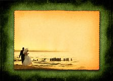 Postcard with married couple. Retro postcard with just married couple during beach stroll, large copy space for your content, photo inside is my property Royalty Free Stock Photos