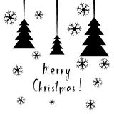 Postcard for Marry Christmas. Black abstract fir tree with snowflakes on white background. Vector illustration. Postcard for Marry Christmas. Black abstract fir Stock Images