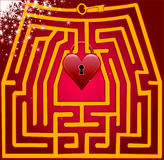 Postcard maze of love. Valentine day Royalty Free Stock Photography