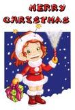 Postcard Merry Christmas stock image
