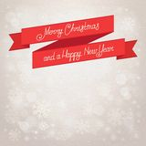 Postcard Merry Christmas. beige background with snowflakes. canvas texture Royalty Free Stock Photo