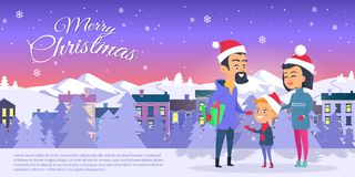 Postcard with Merry Christmas on City Background. Vector illustration of happy family in red hats father with green prerent mother son on white field. Behind Royalty Free Stock Image
